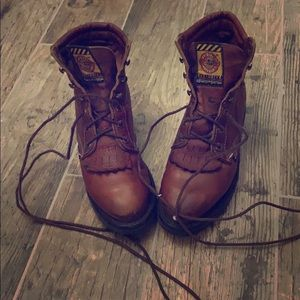 Lace up work boots